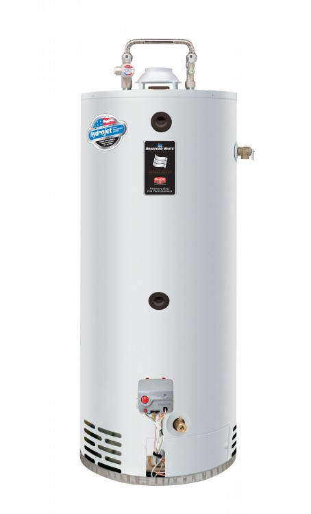 a white hot water tank with a white background